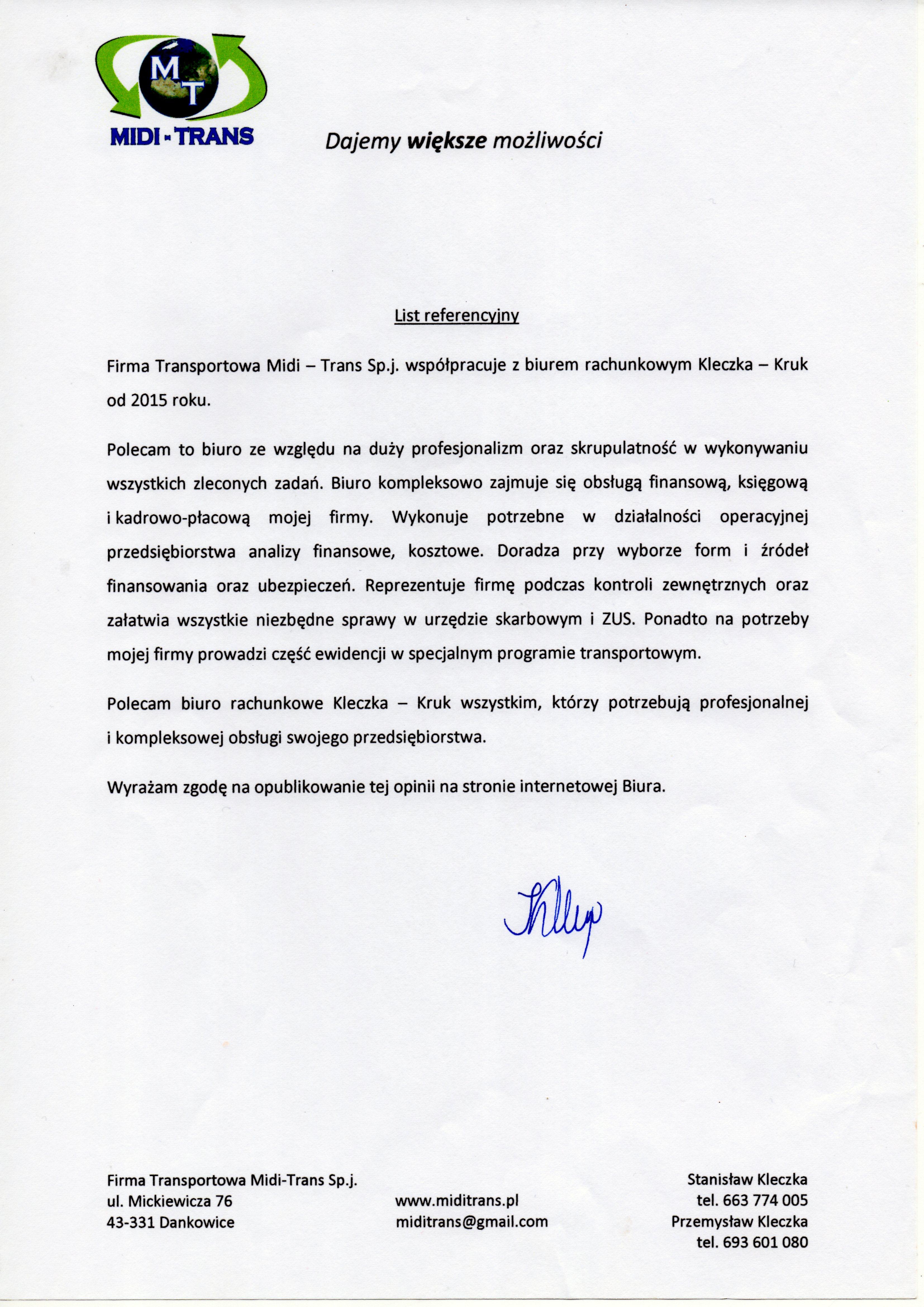 FT MIDI-TRANS S. J. Stanisław Kleczka